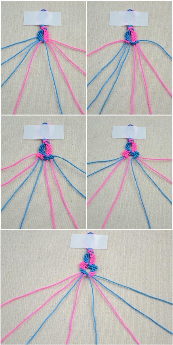 Переплетаем розовую и синюю нить между собой фото