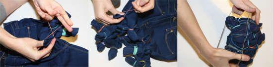 Связываем джинсы узлом и перетягиваем резинками фото