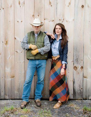 Фото мужчины и женщины одетых в американский стиль кантри