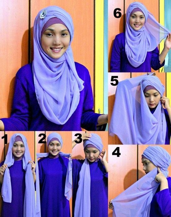 Второй способ завязывания хиджаба фото