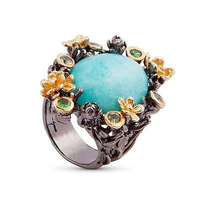 Кольцо с камнем бирюза фото