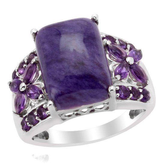 Кольцо с камнем чароит фото