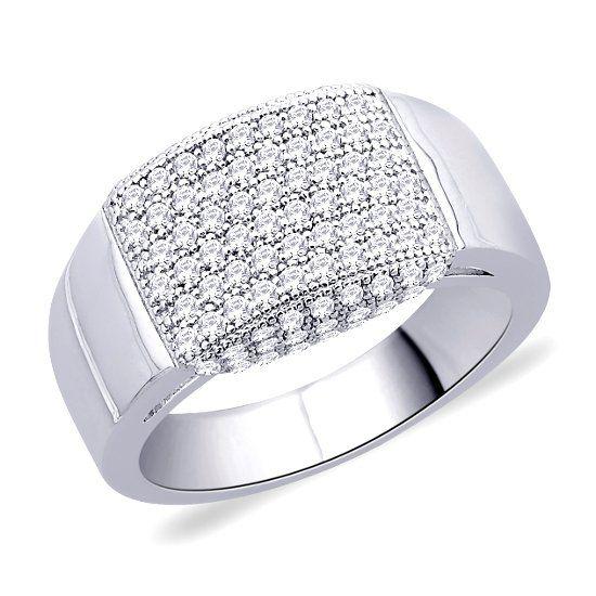Кольцо с белым цирконом фото