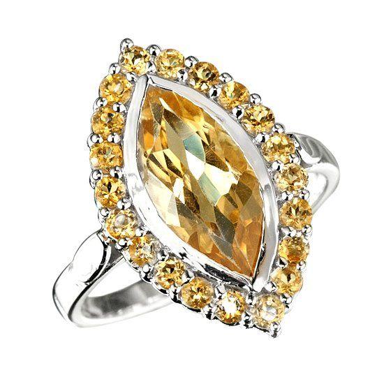 Кольцо с камнем цитрин фото