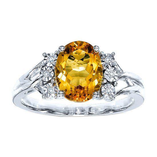 Кольцо с камнем цитрин и бриллиантами фото
