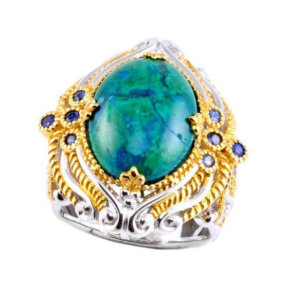 Кольцо с камнем хризоколла фото