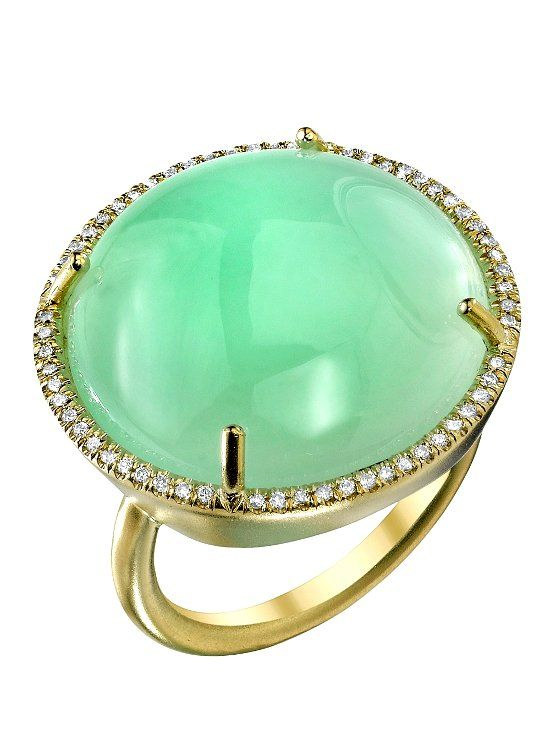 Кольцо с камнем хризопраз фото