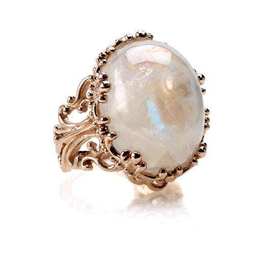 Кольцо с лунным камнем фото