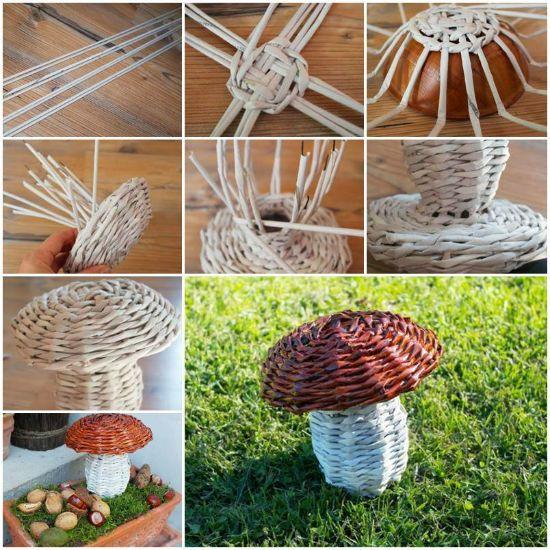 Изготовление грибка из трубочек