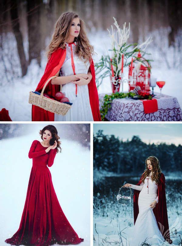 Девушка в красном на снегу фото