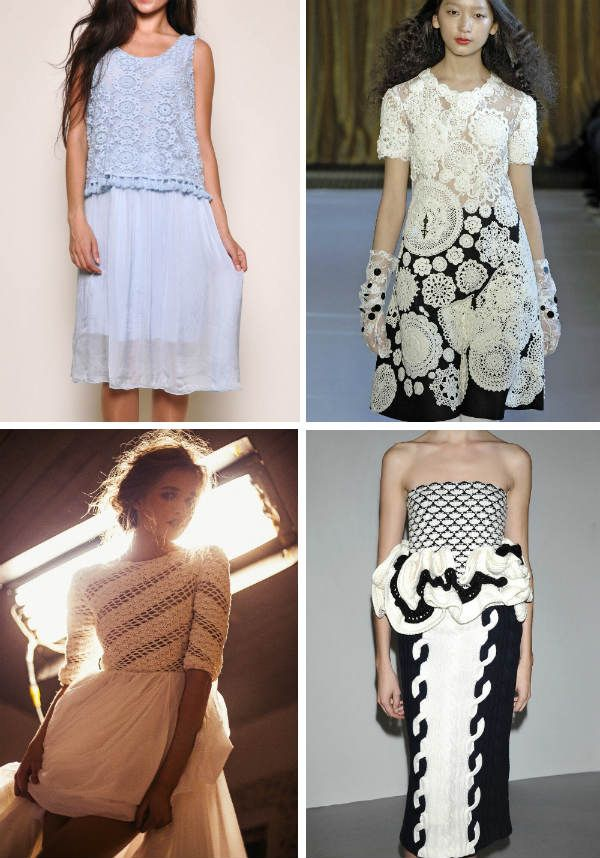 Комбинированное летнее вязаное платье фото