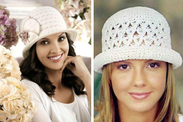 Вязаная летняя шляпа с полями фото