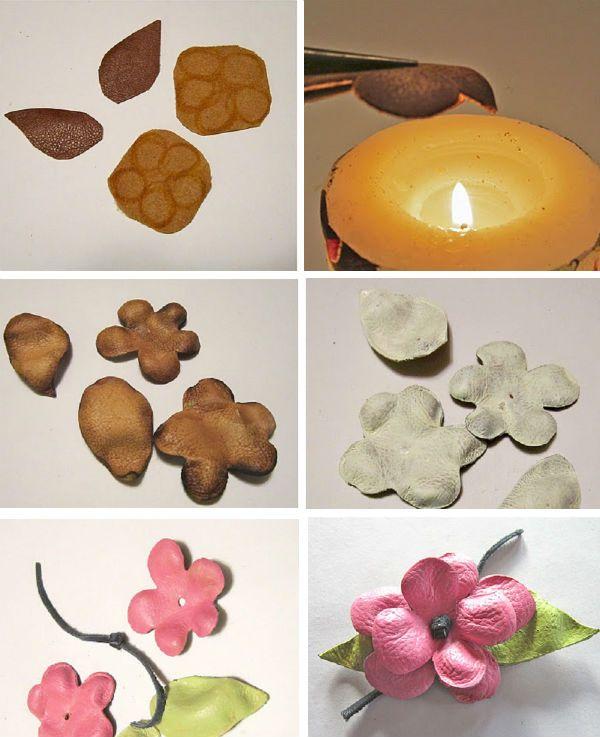 Делаем цветы из кожи фото