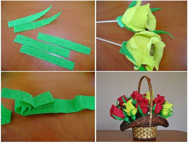 Добавляем листочки и укладываем конфеты в розы в корзину фото