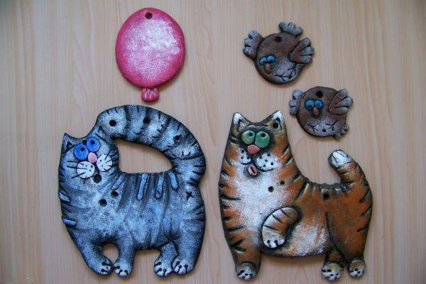 Коты из соленого теста фото
