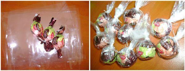 Оформляем конфеты в целлофан фото