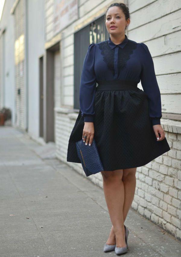 Юбка и блуза в темных тонах фото