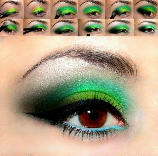 Для карих глаз с зелеными тенями фото