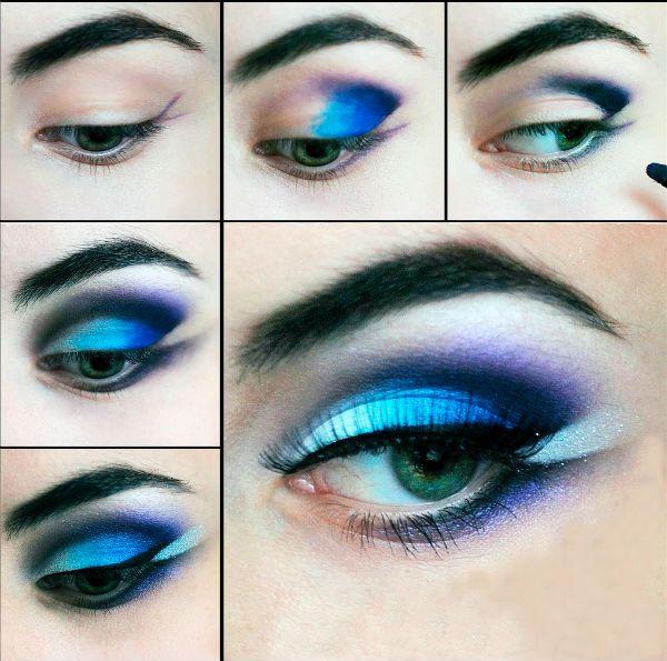 Для зеленых глаз в синих тонах фото