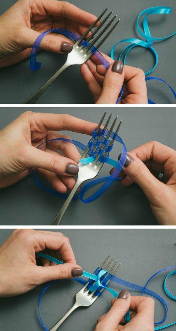 Как делать бантик на вилке  фото