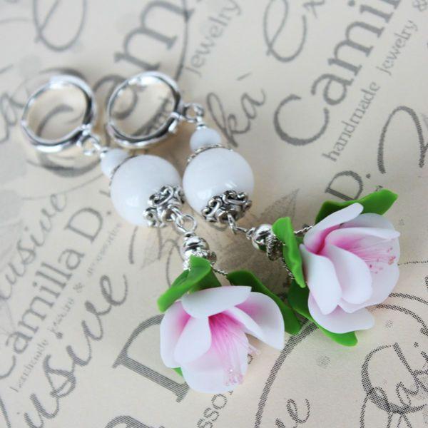 Серьги с цветами сакуры фото