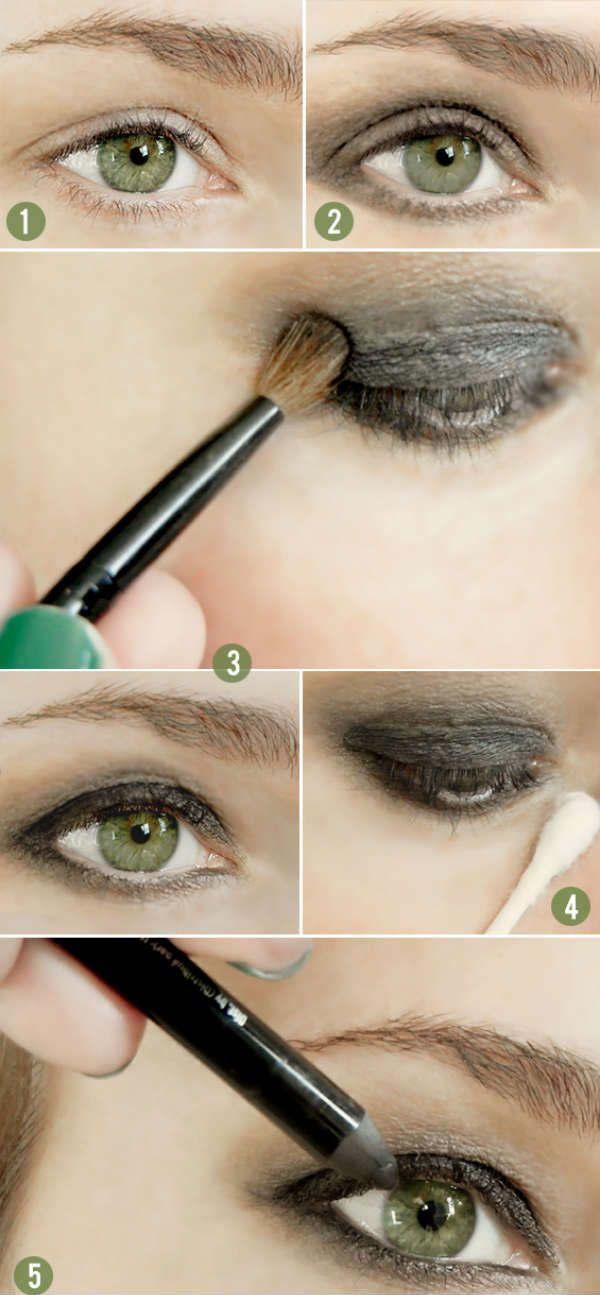 Смоки айс для зеленых глаз с серыми тенями фото