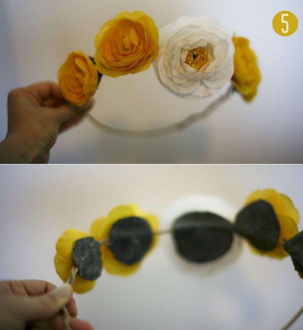 Добавляем цветы на веночек фото