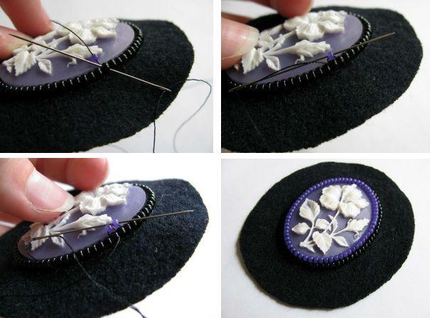 Пришиваем фиолетовым бисер фото