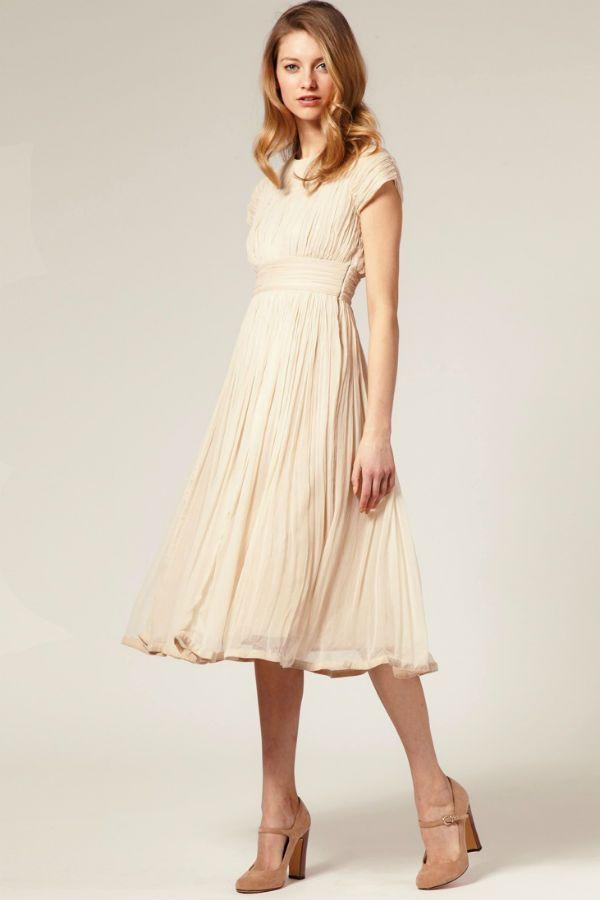 Платье с расклешенной юбкой из шифона фото
