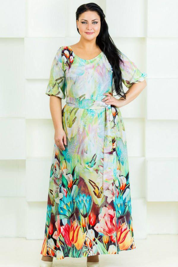 Платье с принтом для полных фото