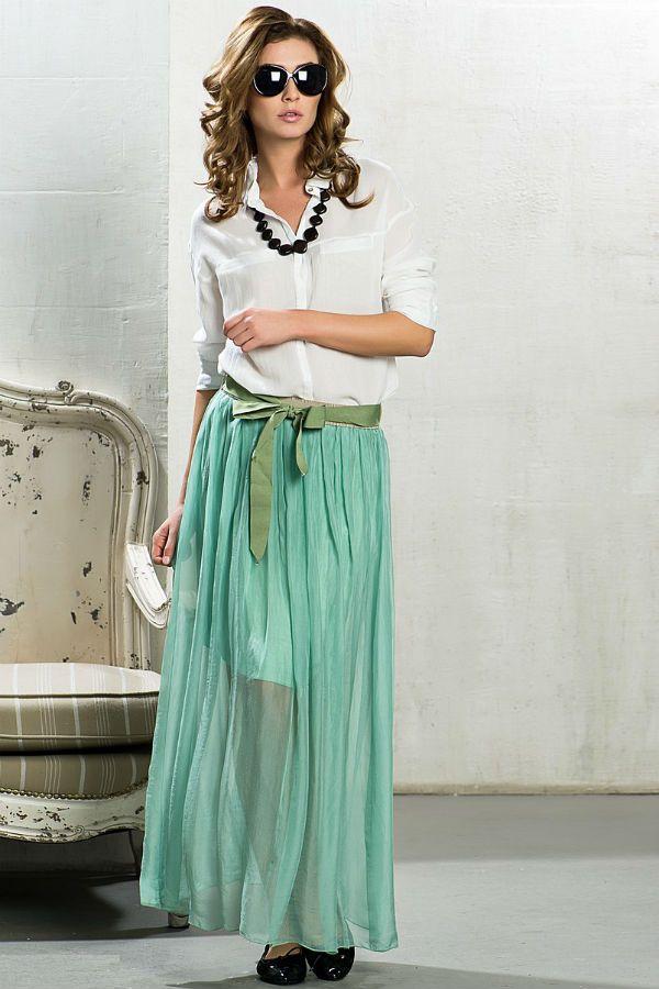 Плиссированная юбка в пол фото