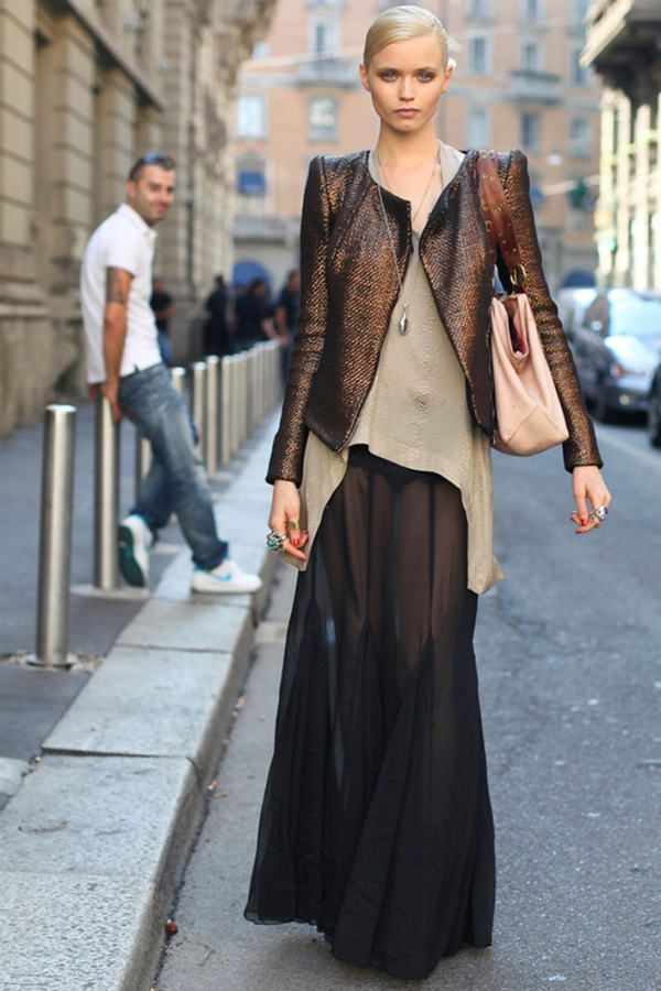 Шифоновая юбка в пол фото