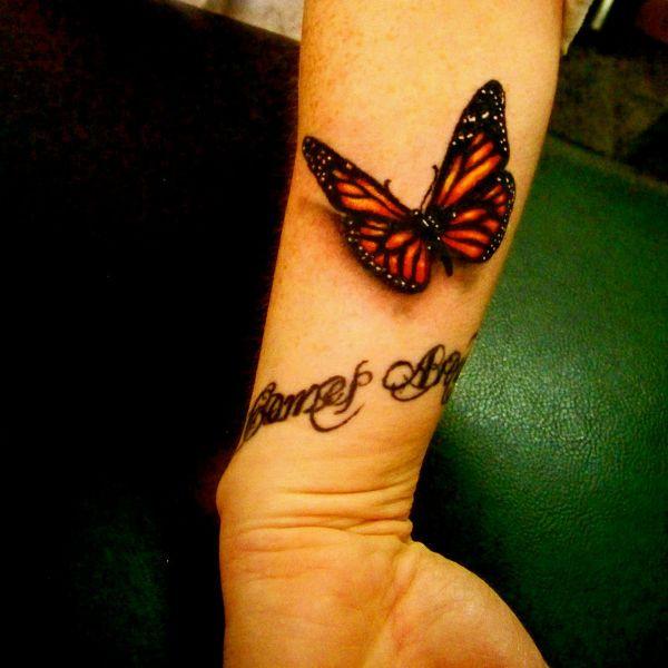 3D татуировка бабочки фото