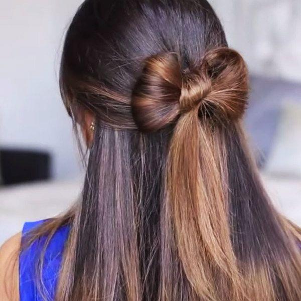 Бант на распущенных волосах фото