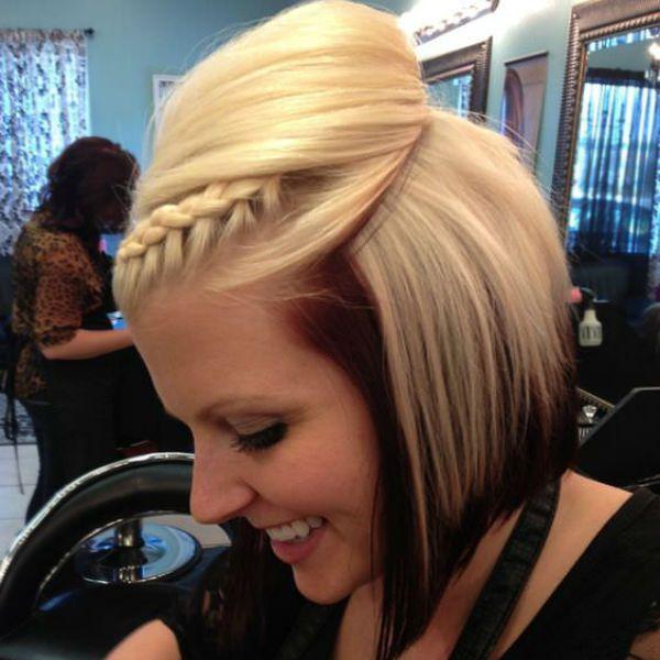 Плетение на коротких волосах фото