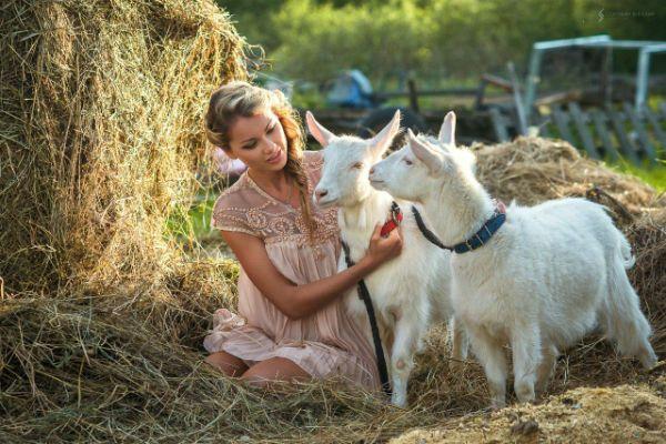 Фотосессия с козлятами фото