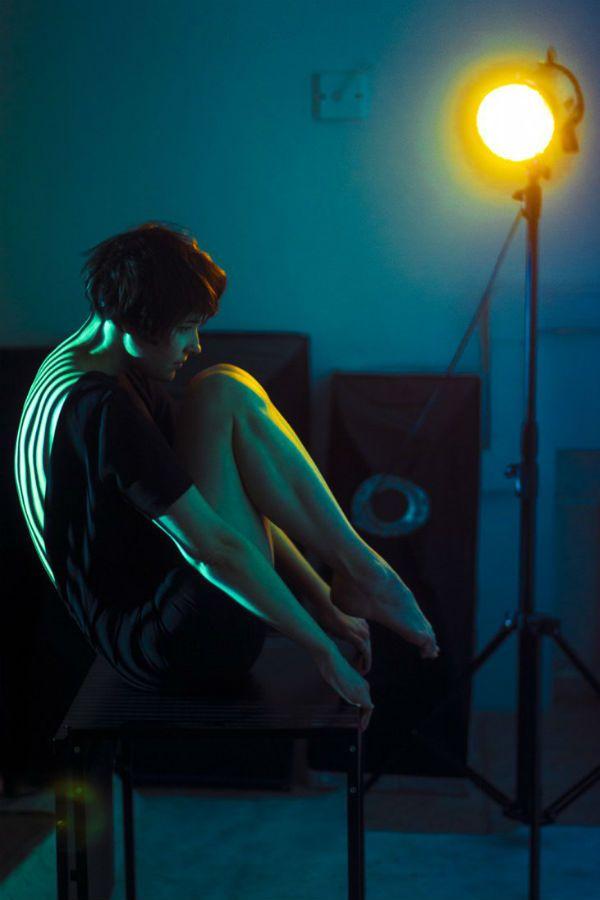 Съемка с прожектором фото