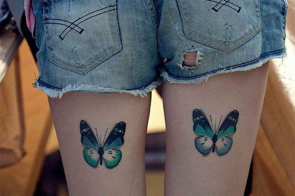Тату на ногу бабочки фото