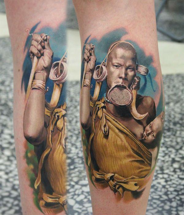 Реалистичная татуировка человека фото