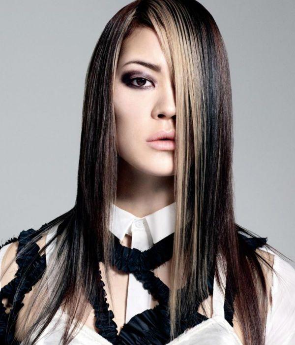 Асимметрия на длинные волосы 4 фото