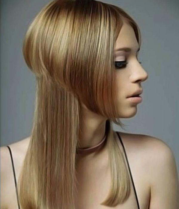 Асимметрия на длинные волосы 3 фото
