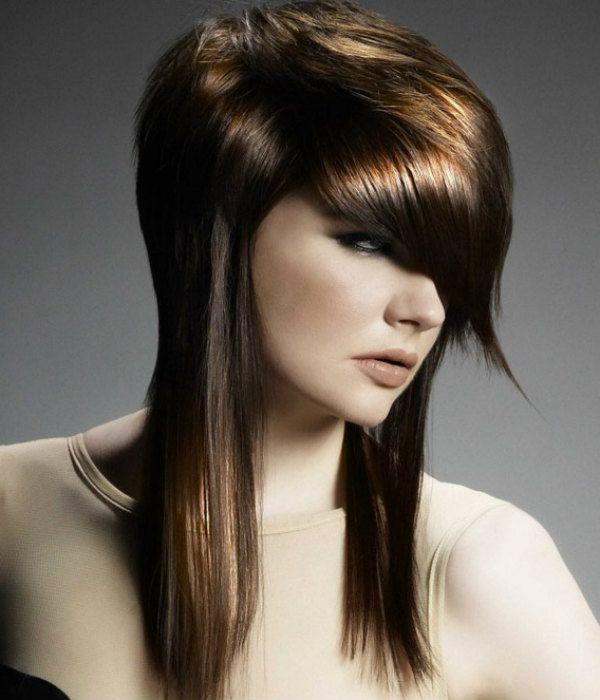 Асимметрия на средние волосы 2 фото
