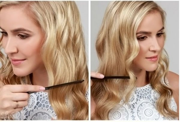 Кудри набок на средние волосы 2 фото