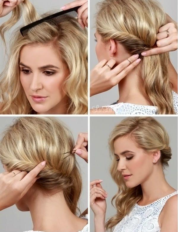 Кудри набок на средние волосы 3 фото
