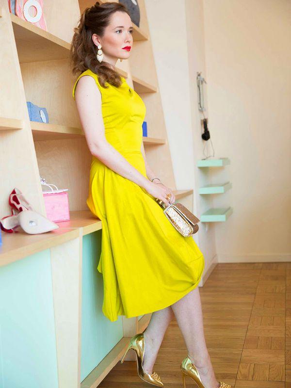 Желто платье фото
