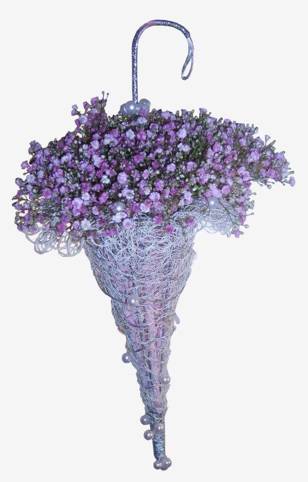 Зонт из живых цветов фото