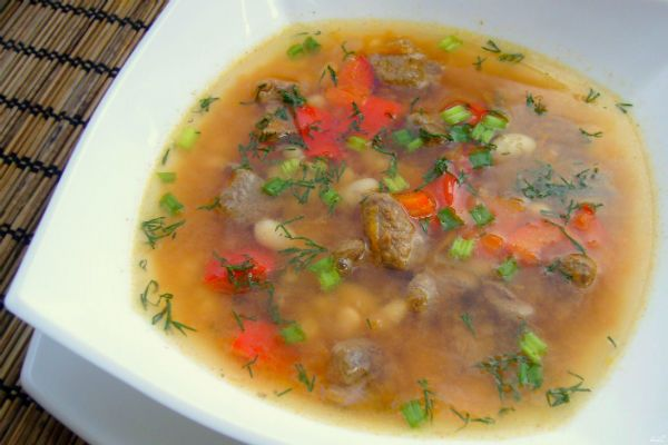 Овощной суп на грибном бульоне фото