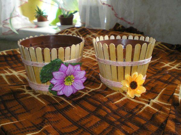 Кашпо из палочек от мороженого 2 фото
