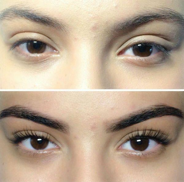 Пример ламинирования под черные глаза фото