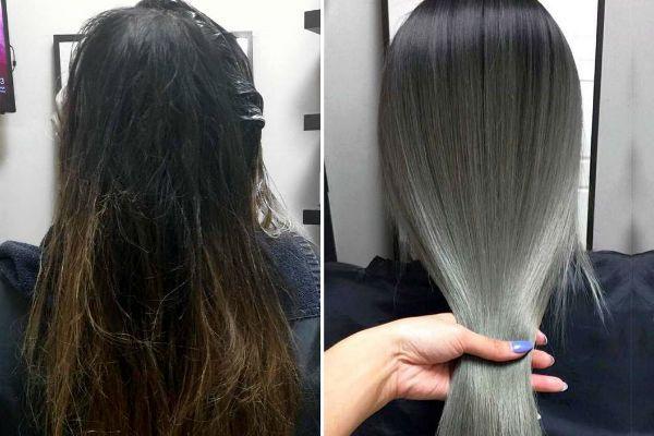 Тонирование темных волос фото